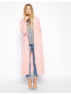 Langer Mantel aus Kreppstoff - Rosa