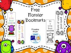 This file contains 4 monster themed bookmarks, 2 colored and 2 black and white bookmarks for your students to color. You might also like to check out the other monster themed items I have in my store: Free Monster Library Themes, Library Activities, Library Ideas, Library Organization, Library Inspiration, Classroom Freebies, Classroom Themes, Monster Theme Classroom, Monster Bookmark