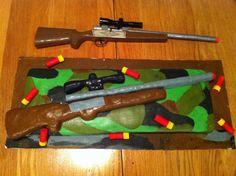 Shot gun cake - gun & shells made from Rice Krispie treats Funny Birthday Cakes, Leo Birthday, Gun Cakes, Military Cake, Boat Cake, Rice Krispies, Krispie Treats, Camo Party, Wedding Topper