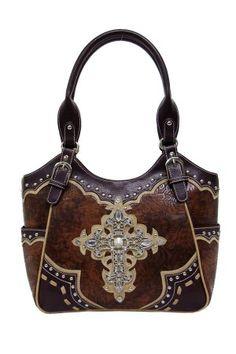 Texas Leather MFG Women's Brown Embossed Cross Bag