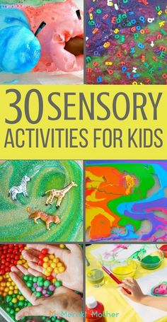 Affordable Sensory Play Activities for Children's Brain Development Ultimate list of sensory activities for kids. Sensory Activities For Preschoolers, Art Therapy Activities, Infant Activities, Childcare Activities, Preschool Ideas, Sensory Therapy, Work Activities, Creative Activities, Sensory Art