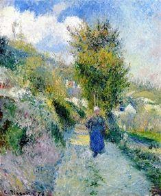 Chemin de Pontoise, Auvers-sur-Oise - Camille Pissarro - The Athenaeum Camille Pissarro Paintings, Pissaro Paintings, Landscape Art, Landscape Paintings, Impressionist Artists, Post Impressionism, 2d Art, Art Plastique, Illustration Art