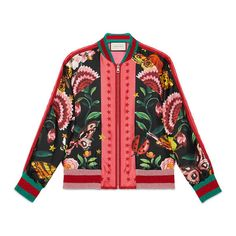 Gucci Garden Exclusive Silk Bomber ($2,600) ❤ liked on Polyvore featuring outerwear, jackets, gucci, tops, floral print jacket, zip jacket, floral jacket, zipper jacket and reversible jackets