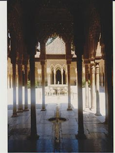 View of the court of the lions, Alhambra, Spain.