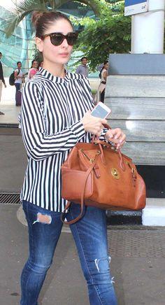 Kareena Kapoor at Mumbai airport. #Bollywood #Fashion #Style #Beauty #Hot