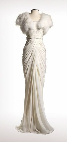 """Contemporary bridal dress designed by J. Mendel in Paris. Description: """"APOLLONIE In-Store Only Silk chiffon strapless gown with draped bodice Ivory Shadow Fox cropped bolero"""": Glamour, Vintage Fashion 1930 Wedding Dress Style Glamour Hollywoodien, Vintage Glamour, Hollywood Glamour, Vintage Hollywood, 1930s Fashion, Moda Fashion, Vintage Fashion, Victorian Fashion, Fashion Fashion"""