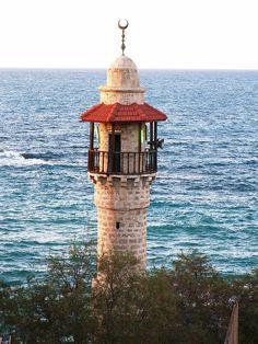Lighthouse in Tel Aviv, Israel Israel Palestine, Jaffa Israel, Terra Santa, Old Jaffa, Costa, Beacon Of Light, Israel Travel, Holy Land, Mediterranean Sea