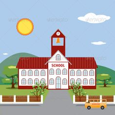 Illustration of School Building. ...  architecture, back, bell, building, cartoon, clip-art, color, colorful, design, door, education, house, illustration, learn, object, old, red, retro, roof, school, sign, steeple, steps, tower, vintage, white, window