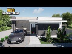 CASA DE UN PISO CON TRES DORMITORIOS - 9X20m (JMC ARQ) - YouTube My House Plans, House Front Design, Big Houses, Ideas Para, Cool Style, Outdoor Decor, 3d, Home Decor, Stylish Home Decor