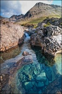 Fairy pools, Skye  Glen Brittle and the Fairy Pools.  These are a series of crystal clear, aqua pools along Coire na Creiche.  A short walk of around a mile takes you to the start of the waterfalls and pools along the Allt Coir' a Mhadaidh burn.