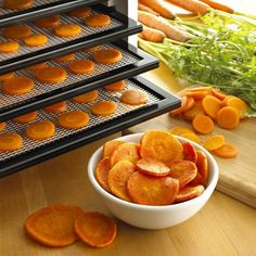 Dehydrate Your Own Kale Chips or Dog Treats-- Are those healthy snacks you are eating really healthy?  Or how about some of the pet treats that you have purchased for your furry friend?  You can now make your own for a fraction of the price and you will know that the snacks will all be healthy when you are done plus they will all have a long shelf life. Fruit Roll-Up Recipe  video shows how easy it is to make and a great snack for you and the kids! This machine can save us money!