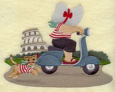 ** Sunbonnet Sue in Italy Block Of The Month Pattern Used As Applique Quilt @emlibrary