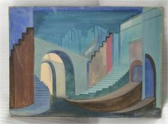 Fine antique LATVIAN painting / stage design setting. BY Latvian / American artist LUDOLFS LIBERTS (1895 - 1959) - TEMPERA ON BOARD. Circa 1930's.    Ludolfs Liberts, a Latvian artist of international stature, came to America in 1950.  In spite of an insidious physical ailment during the last decade of his life, the artist worked with an unusual intensity and fervor.  The versatile and prolific painter has treated different subject matters; however, his highest achievements are the…