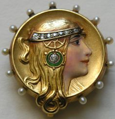 Art Nouveau Enameled Diamond Pearl Byzantine Lady 14k Brooch