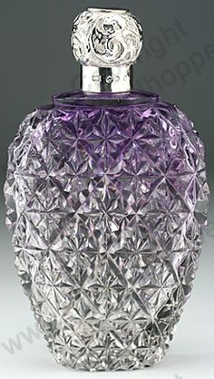 Amethyst Crystal Scent Bottle with Silver Stopper - 1896