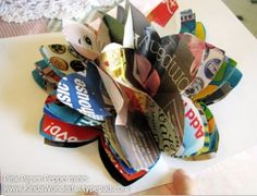 Recycled Magazine Pop-Up Flowers