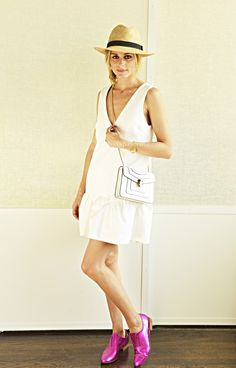 Olivia in a dress by Elizabeth and James with a Bulgari cross-body bag, BCBG hat and Habbot oxfords.