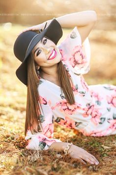 Senior teen picture portrait idea close up casual with choker floral romper bold lip floppy hat backlit natural