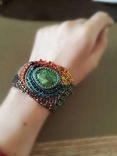 Multi color Bead Embroidery Bracelet.