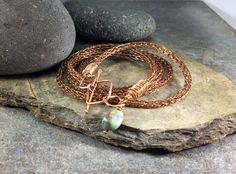 Viking Knit bracelet converts to necklace, Handmade in bronze, Turquoise nugget accent by NimbleWitchCreative on Etsy