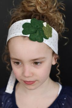 Lucky Day: Four Leaf Clover Fabric Headband (large and small clover) by letterbdesigns on Etsy https://www.etsy.com/listing/182491433/lucky-day-four-leaf-clover-fabric
