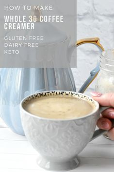 This healthy coffee creamer recipe is whole 30 coconut milk that is creamy and delicious. You will love this easy keto coffee creamer that is also dairy free. This is the perfect comforting cup of coffee made with healthy and good for you ingredients. Coconut Milk Creamer Recipe, Almond Milk Coffee Creamer, Healthy Coffee Creamer, Dairy Free Coffee Creamer, Coffee Creamer Recipe, Coconut Milk Recipes, Scd Recipes, Coffee Milk, Coffee With Coconut Milk