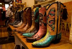 Cowboy boots. As far as the eye can see.