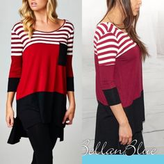 The SANDILYN striped top - BURGUNDY Super fun color block tunic top. Can also be worn as a dress. I pair with leggings. ‼️NO TRADE‼️ Dresses