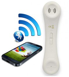Wireless Bluetooth Retro Cell Phone Handset for Iphone - White
