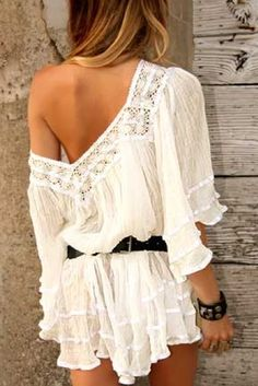 Sexy gauzy boho chic crochet embellished tunic or beach cover up with modern hippie belt and gypsy bracelet. For the BEST Bohemian fashion & Jewelry trends FOLLOW http://www.pinterest.com/happygolicky/the-best-boho-chic-fashion-bohemian-jewelry-gypsy-/