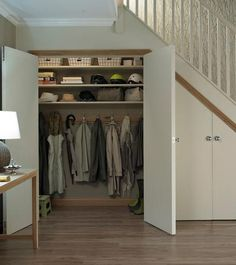 32 Clever Under The Stairs Storage Ideas Understairs Storage Clever Ideas stairs storage Coat Cupboard, Hall Cupboard, Cupboard Storage, Shoe Cupboard, Kitchen Storage, Closet Under Stairs, Under Stairs Cupboard, Hall Closet, Staircase Storage