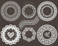 "Lace Border Clip Art Clipart: ""Lace Сircles"" set with digital lace borders, lace frames, white lace borders lace hearts, lace cupids for invites and #scrapbooking, valentine... #etsy #digiworkshop #illustration #creative #clipart #printables #crafting #valentines"