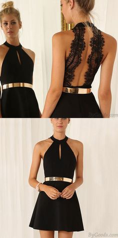 Fashion Black Sleeveless Halter Contrast Lace Backless Dress Party Dress is hot ! #dress #Party #women #fashion #lace