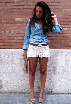 lace shorts + chambray :: a good look for casual dinner/drinks... esp. with dressier sandals + a clutch!
