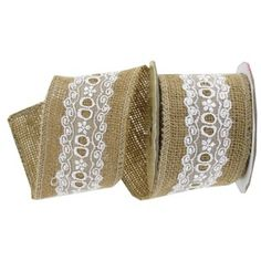 "It's easy to decorate your floral arrangements, gifts, crafts and more with this Burlap Ribbon with White Lace Center. The natural burlap ribbon features a delicate white lace center.  	  		Ribbon Details:  	  		  			Ribbon Width: 2 1/2""  		  			Ribbon Type: Wired Edge Burlap  		  			Spool Length: 3 Yards"