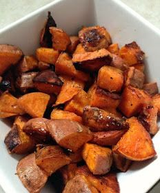 Just popping in to share a delicious side-dish recipe that I already can't wait to make again: coconut oil and honey roasted sweet potatoes....