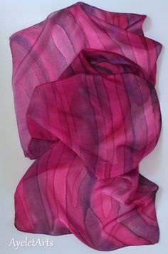 Evening silk scarf, Pink silk scarf, Violet wrap, Purple Scarf, Lilac Scarf, Lavender Hand Painted Elegant silk scarf, Fashion accessories, Woman & Girl Scarf, One of a kind design / OOAK. Made in Galilee, Made in Holy land, Israel.  Special and unique Silk Scarf, High Fashion item, High Fashion accessories. This Elegant Gentle silk scarf, long and wide scarf, was designed, hand-painted and drawn by me. It is one of a kind piece signed by me. The scarf colors are: Pink variety and br...