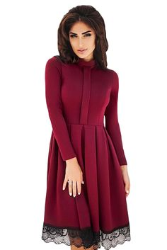 Lace Hemline Detail Burgundy Long Sleeve Skater Dress only US 25.53  57a9d211275