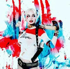 I love the background because the colors go together with Harley Quinn outfit. The colors look like Harley had a big bash party.