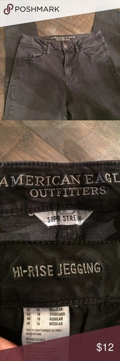 American Eagle Super Stretch Hi-Rise Black Jegging These are a great pair of American Eagle Outfitters hi-rise black jeggings. Size 10. All measurements are shown in pictures. They are in great shape. Only worn once or twice. Slight fading from those one or two washes. Excellent pre-loved condition. American Eagle Outfitters Jeans Skinny