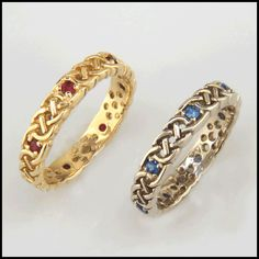 Josephine's Knot Celtic Gold Ring with Sapphire or Ruby R43. Available in 14K Yellow, Rose or White Gold.