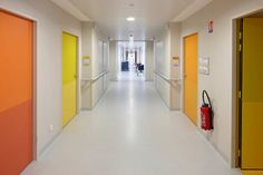 Image 8 of 12 from gallery of Monconseil Retirement Home / Atelier Zundel & Cristea. Photograph by Stéphane Chalmeau Medical Design, Healthcare Design, Corridor Design, Aged Care, Elderly Home, Environment Design, School Design, Colorful Interiors, Planer