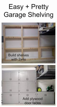 Garage shelves with doors Ana White Diy Garage Shelves, Built In Shelves, Garage Cupboards, Floating Shelves, Basement Shelving, Diy Cabinets, Cheap Garage Cabinets, Build Shelves, Basement Ideas