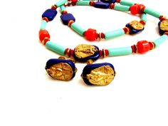Miriam Haskell Necklace and Earring Set Brass Glass Vintage 1970's King Tut Signed Egyptian Egypt Vintage Jewelry Collection Blue Red Green - pinned by pin4etsy.com