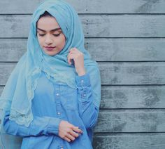 All blue Hijab from ☺ Beautiful Hijab, Beautiful Roses, Most Beautiful, Infp, Create Photo, Hijab Fashion, Photo And Video, Instagram Posts, Blue