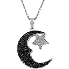 Jewel Exclusive Sterling Silver  Black and White Diamond Moon and Star... (66 CAD) ❤ liked on Polyvore featuring jewelry, necklaces, accessories, jewels, multi, sterling silver pendant, sterling silver star jewelry, chain pendants, star pendant and diamond pendant