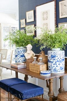 White Home Accessories Ginger Jars - Are you a member of The blue and white club. Blue And White Living Room, White Rooms, Blue And White China, White Home Decor, Ginger Jars, White Houses, White Porcelain, Home Accessories, Sweet Home