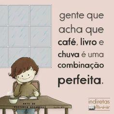 Cafe + chuva + livro