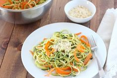 (gluten-free, paleo) Zucchini and Carrot Pasta with Avocado Cucumber Sauce | www.downshiftology.com