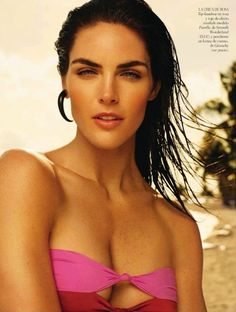 Sun-drenched – Brunette beauty Hilary Rhoda relaxes at the beach with a story featured in Vogue Spain's June issue. Photographer Miguel Reveriego captures the top model gearing up for a swim session in the sexiest bathing suits of the season chosen by stylist Katie Mossman. Slicked back, wet hair by Rutger and tanned skin by make up artist Itsuki complete the smoldering beach babe look.